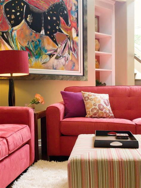 sofa room ideas vibrant red sofas living room and dining room decorating ideas and design hgtv