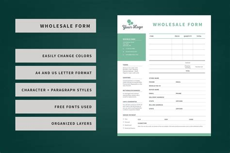 wholesale order form template stationery templates