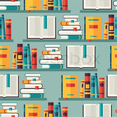 seamless pattern  books  bookshelves  flat design