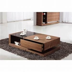 giomani designs alpha black glass and walnut storage With walnut coffee table with storage