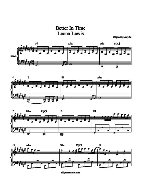 Aldy Sheet Music Better In Time  Leona Lewis
