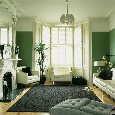 Green Living Room Monochrome Palette + White Accents