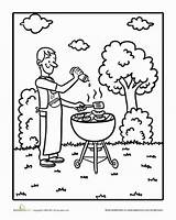 Bbq Coloring Worksheet Grilling Grill Dad Summer Education Sunny Waiting Looks He Been sketch template