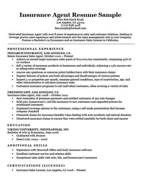 Insurance Resume by Insurance Resume Sle Resume Companion