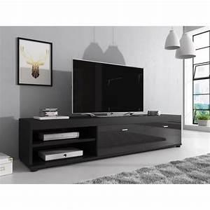 Meuble Tv Noir : elsa meuble tv contemporain d cor noir 140 cm achat vente meuble tv elsa meuble tv ~ Teatrodelosmanantiales.com Idées de Décoration