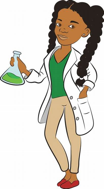 Scientist Female Cartoon Clipart Woman Young Teachers