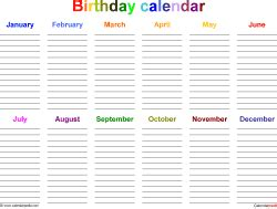 birthday calendars  printable microsoft word templates