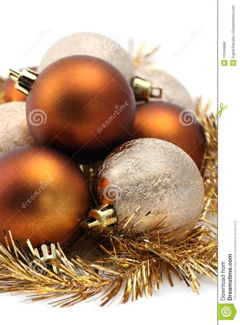 brown and gold christmas decorations gold and brown christmas ornaments royalty free stock photos image 17044868