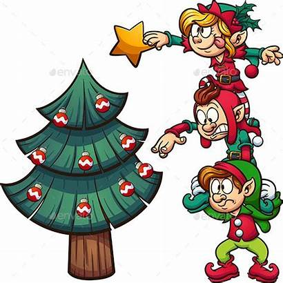 Decorating Elves Tree Christmas Cartoon Clip Vector