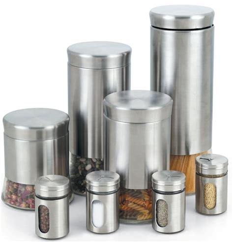 kitchen jars and canisters stainless steel 8 canister and spice jar set