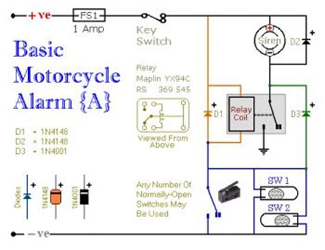 basic motorcycle alarm circuit electronic schematic diagram
