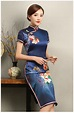 知性优雅蓝色旗袍,花娇印花短袖旗袍裙- 中国风