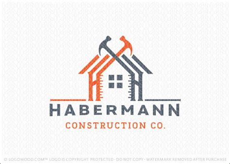logo sold handyman construction building logo design featuring a home design created with