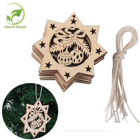 ornament craft for 10 year old 10pcs wood tree ornament diy craft 2018 gifts new year decoration