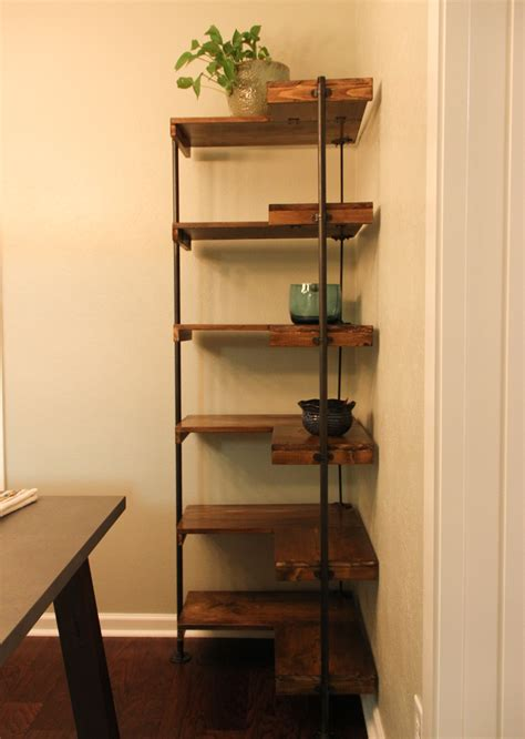 making  rustic industrial  standing corner shelf set