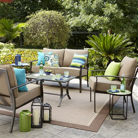 garden oasis harrison 4 pc glass top outdoor seating set