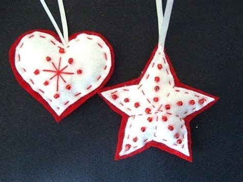 beaded felt star  heart felt christmas ornaments