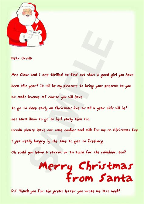 free letters from santa letter from santa template cyberuse