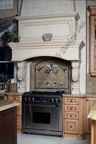 photos of fireplaces high on the wall   Stone Range Hood