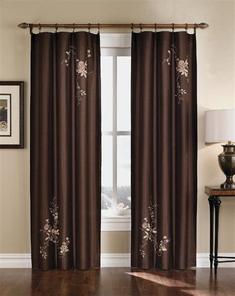 Silk Drapery - floral embroidered faux silk curtain panel 63 95 inch ebay