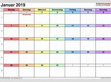 Kalender Januar 2019 als PDFVorlagen