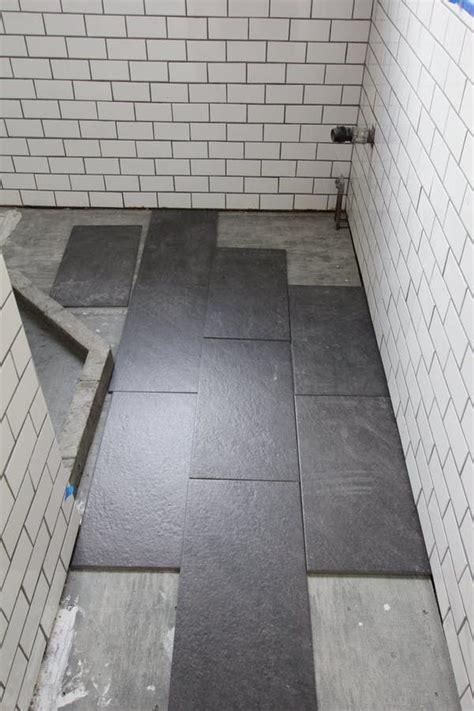 Bathroom Floor Tile Installation by Staggered Slate Gray Floor Tiles White Matte Subway Tile