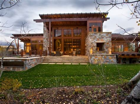 home exterior with stone designs rustic exterior home