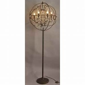 Rococo orb floor lamp le forge for Olive wood floor lamp