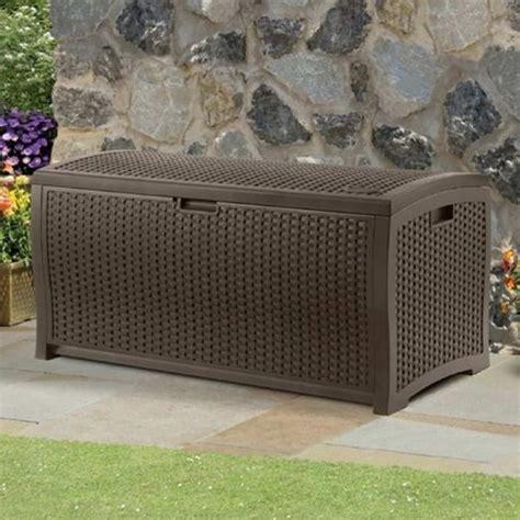 Suncast Wicker Deck Box by Suncast Resin Wicker Deck Box 375l Garden