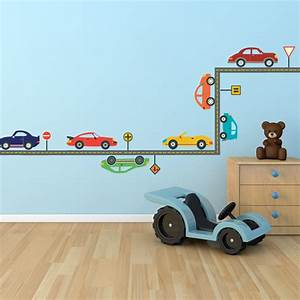 wall dressed up cool cars with gray road wall decals With car wall decals