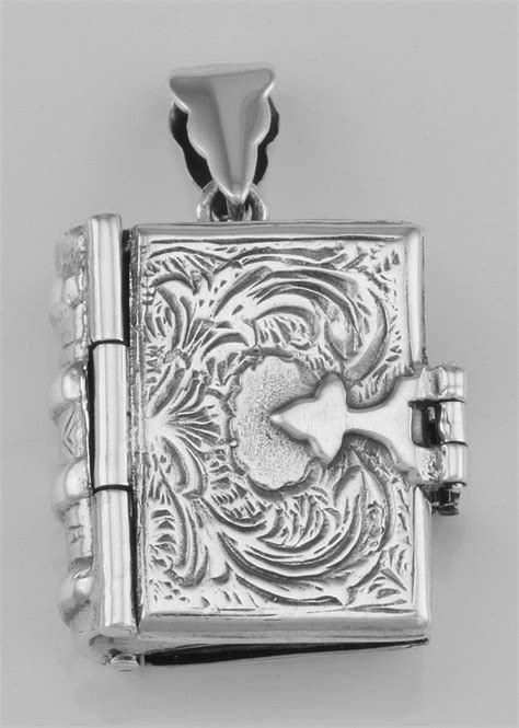 Beautiful Sterling Silver Antique Style Book Locket Pendant HP-66463 Silver Mine Gifts | jewelry