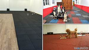 installation in offset or t joint warco rubber tiles With dog training centre