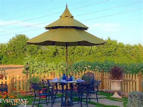Pagoda Style Patio Umbrella by Tablescape Tuesday The Garden Edition