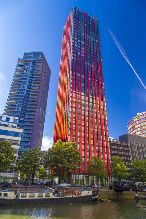 Modern Residential Tower In Rotterdam, Netherlands During