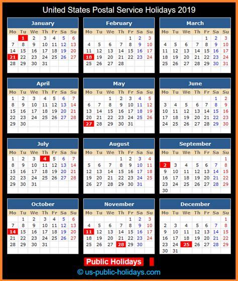 united states postal service holidays