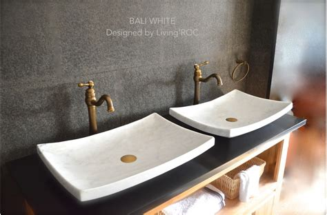 24 quot white marble vessel sink bali white