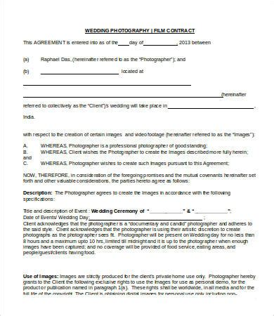 photography contract templates  sample