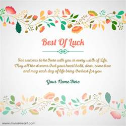 create best of luck for card with name wishes greeting card