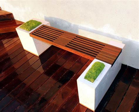 modern wooden garden bench fits  garden situation