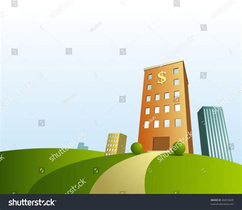 Vector Cartoon Town Background Bank Stock Vector 46653649
