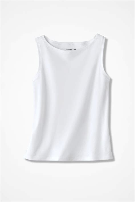 essential supima boatneck tank coldwater creek