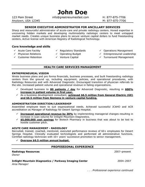 executive administrator  ancillary services resume