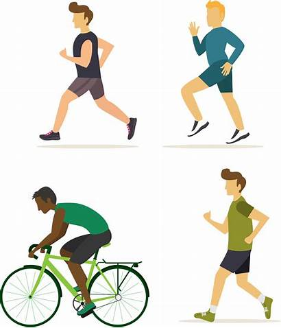 Exercise Walking Fitness Icons Flat Doing Stretching