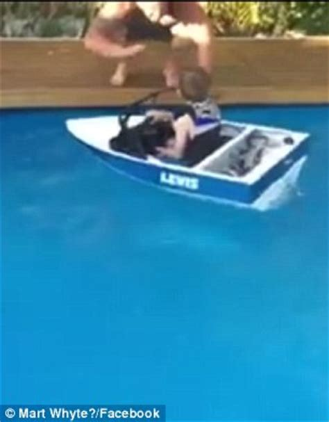 Kids Boat Lewis by Australian Kid Glides Across His Pool In A Homemade Mini