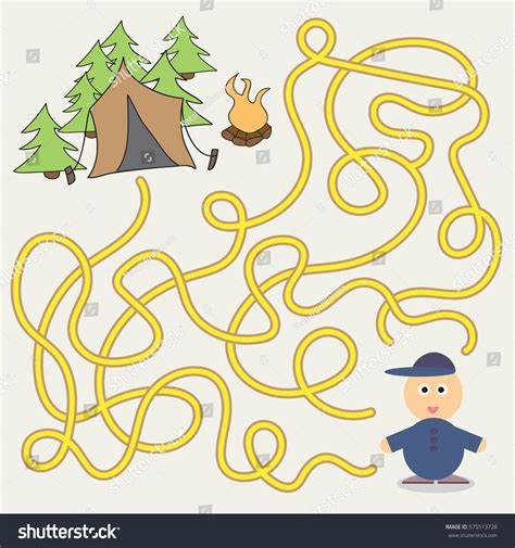 maze game template children camping illustration stock