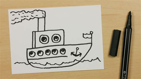 Cartoon Boat Easy To Draw by How To Draw A Steamer Steamboat Or Steamship Easy