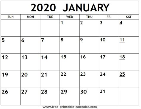printable january calendar printable calendarcom