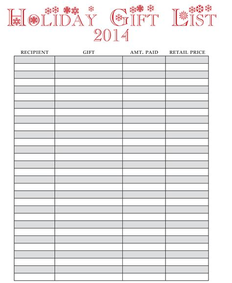 Holiday Gift List- FREE Printable! » One Beautiful Home