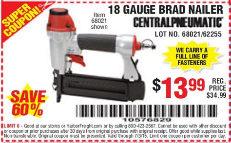 harbor freight 18 floor nailer harbor freight tools coupon database free coupons 25