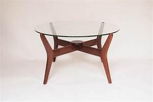 Table Basse Scandinave Ronde : table basse ronde verre et bois scandinave fjord ~ Teatrodelosmanantiales.com Idées de Décoration